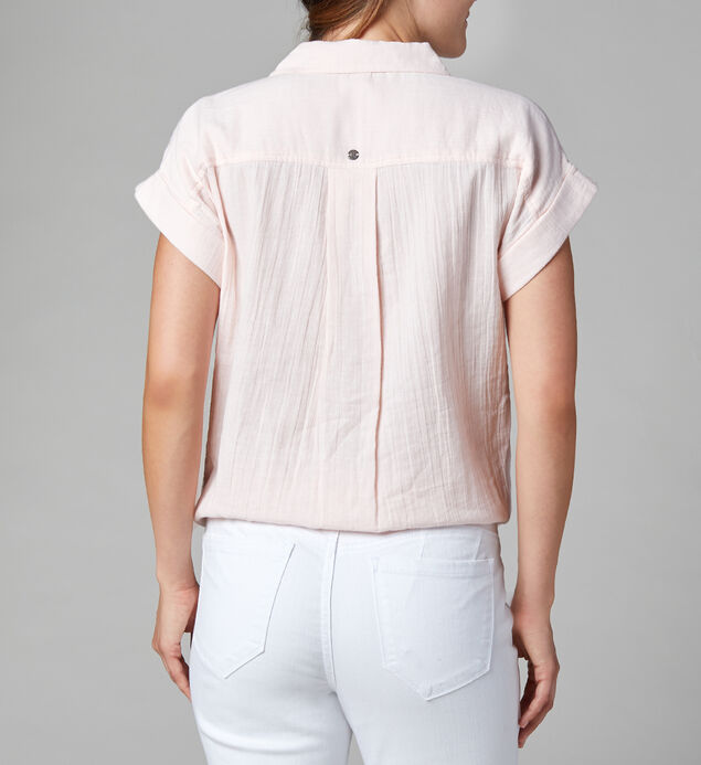 Sally Button-Down Tie-Front Shirt, Shell Pink, hi-res