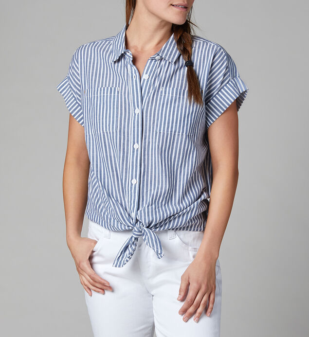 Sally Button-Down Tie-Front Shirt, , hi-res