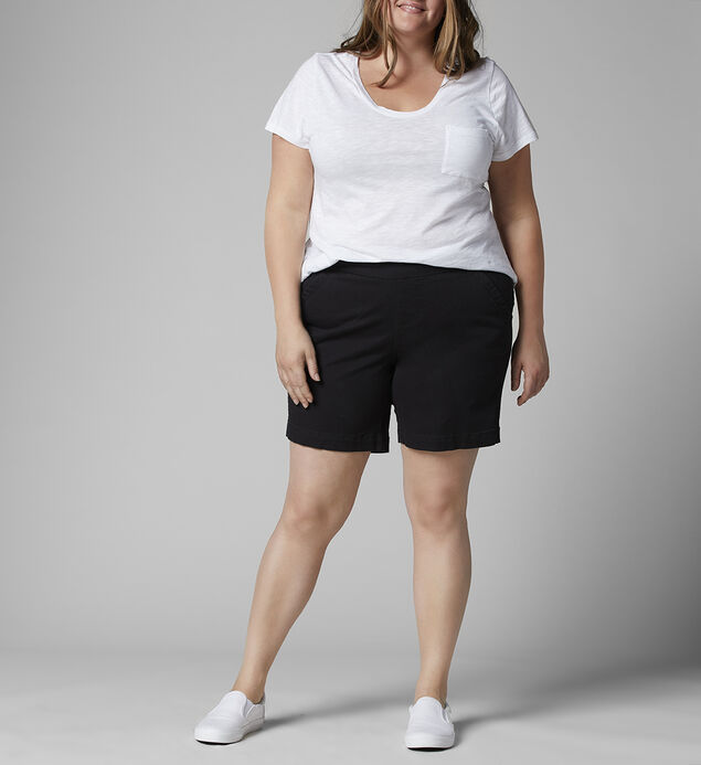 "Gracie Mid Rise 8"" Short Plus Size, Black, hi-res"