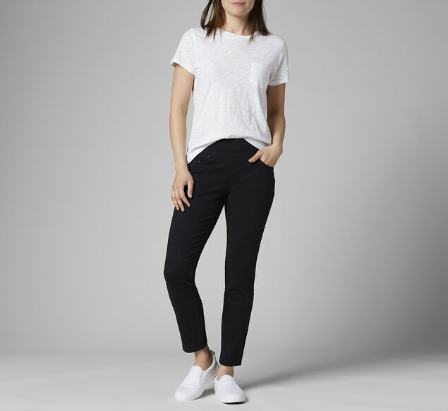 Amelia Mid Rise Slim Ankle Jeans, Black, hi-res
