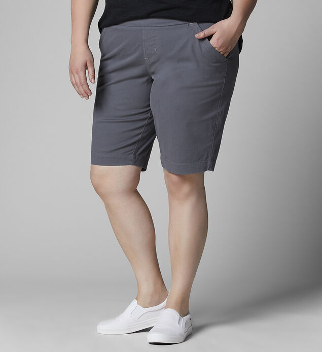 Gracie Mid Rise Bermuda Short Plus Size, Grey Streak, hi-res