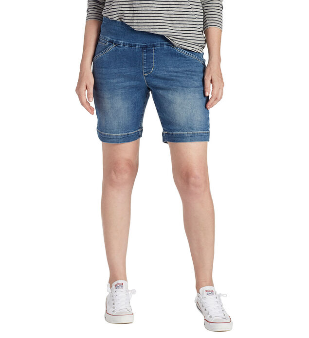 Ainsley 8 Inch Short Med Indigo Front