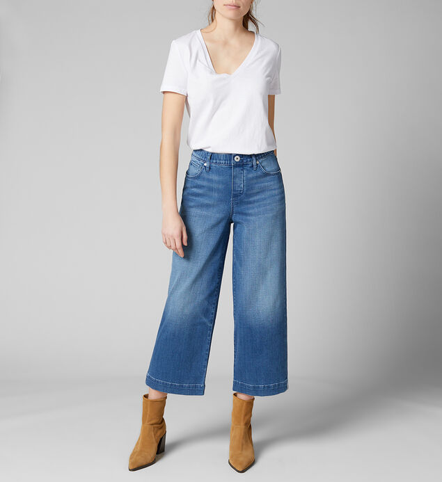 Ava High Rise Wide Leg Crop Pull-On Jeans, , hi-res