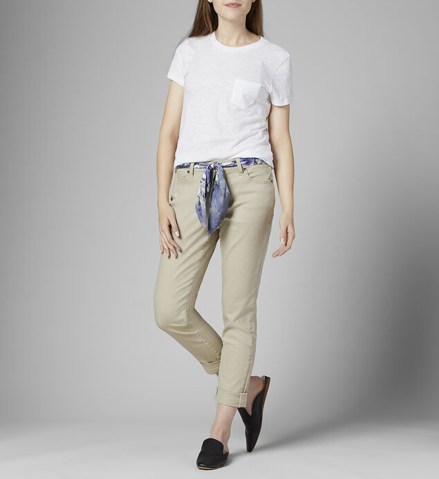 Carter Mid Rise Girlfriend Jeans with Satin Belt