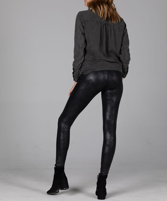 Faux Leather Mid Rise Pull-On Legging, , hi-res