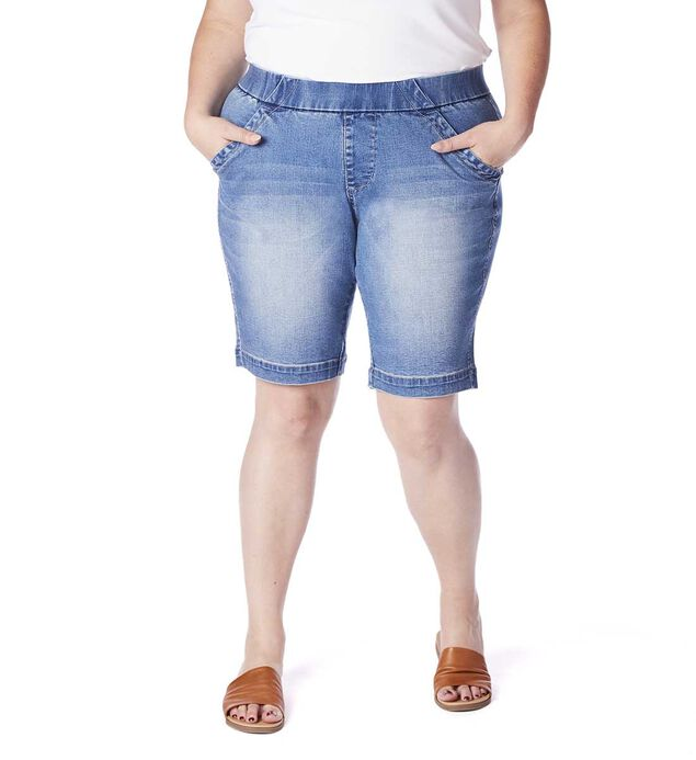 Gracie Mid Rise Bermuda Short Plus Size, Horizon Blue, hi-res