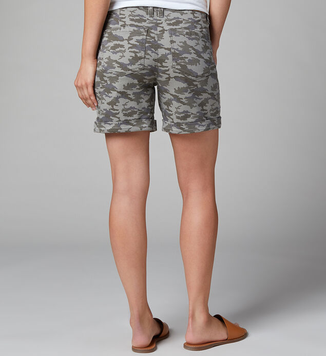 Sandra Mid Rise Camo Short, Faded Forest, hi-res