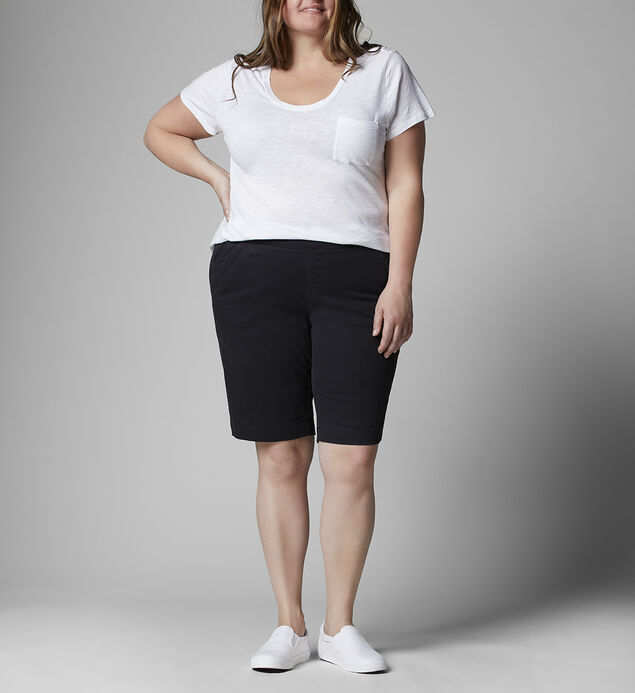 Gracie Mid Rise Bermuda Short Plus Size, Black, hi-res