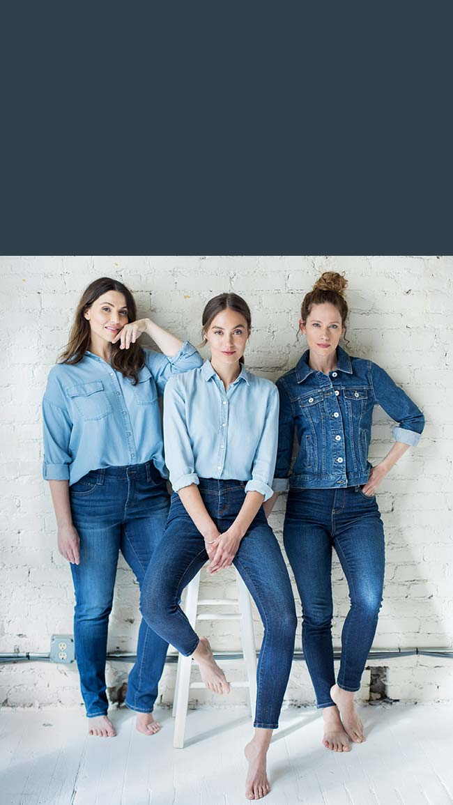 Image of three females wearing demin from the comfort shop