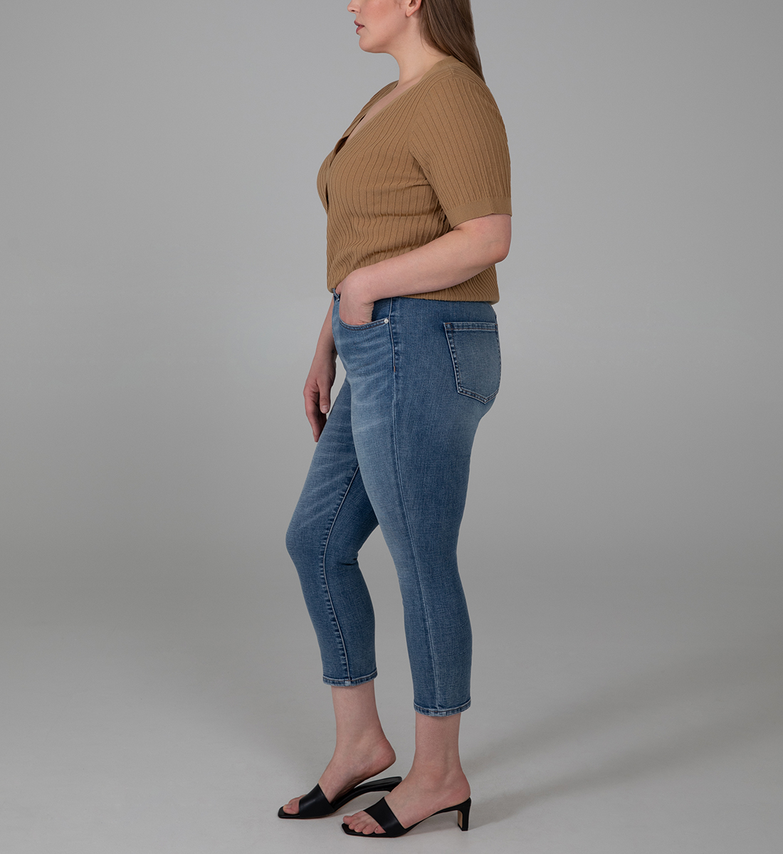 Valentina High Rise Crop Pull-On Jeans Plus Size, , hi-res