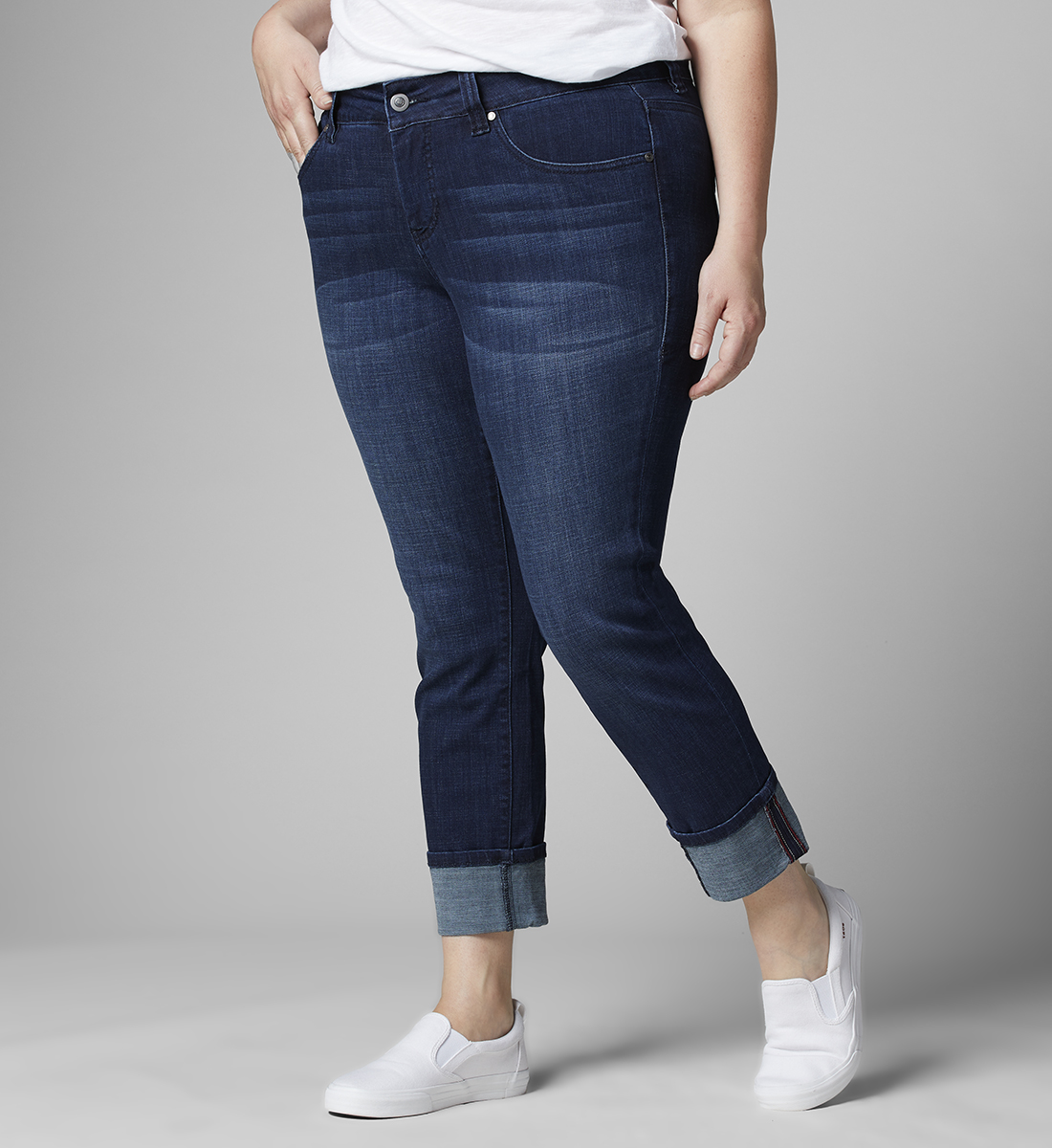 Maddie Mid Rise Skinny Cuffed Jeans Plus Size, , hi-res