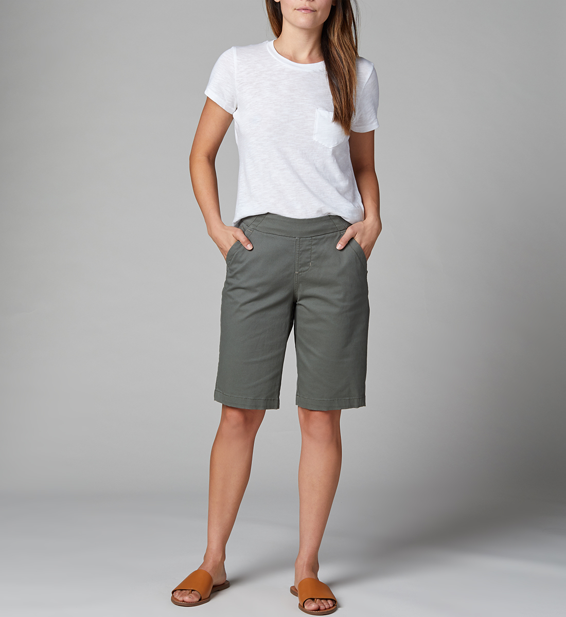 Gracie Mid Rise Bermuda Pull-On Short, Jungle Palm, hi-res