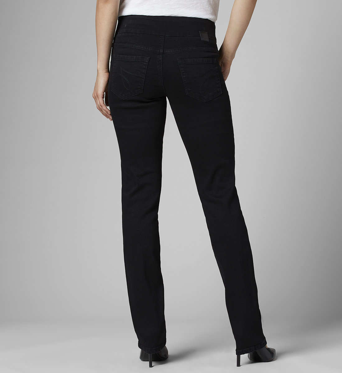 Peri Mid Rise Straight Leg Pull-On Jeans, , hi-res