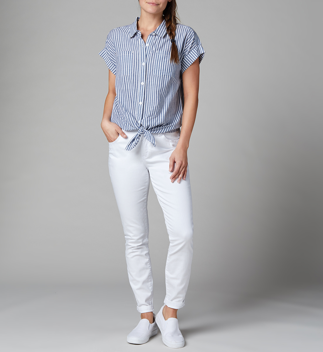 Sally Button-Down Tie-Front Shirt Petite, , hi-res