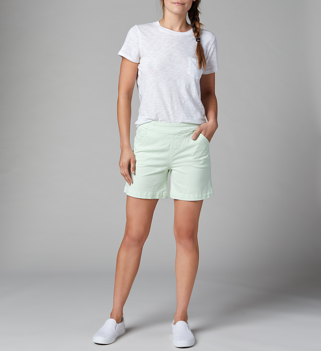 Gracie Mid Rise Pull-On Short, Mint Green, hi-res
