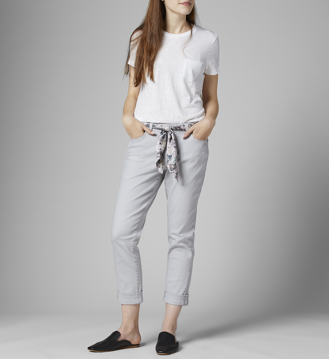 Carter Mid Rise Girlfriend Jeans with Satin Belt, , hi-res
