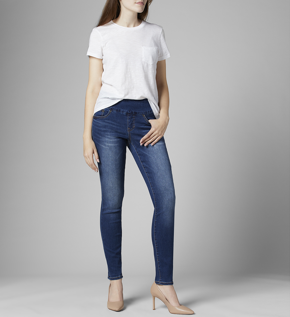 Nora Mid Rise Skinny Pull-On Jeans, , hi-res
