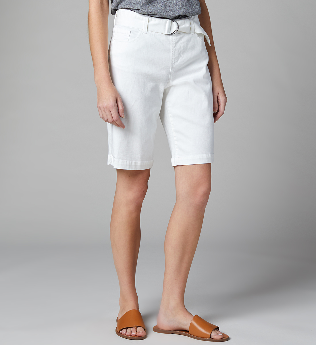 Thelma Mid Rise Bermuda Shorts with Belt Petite, White, hi-res