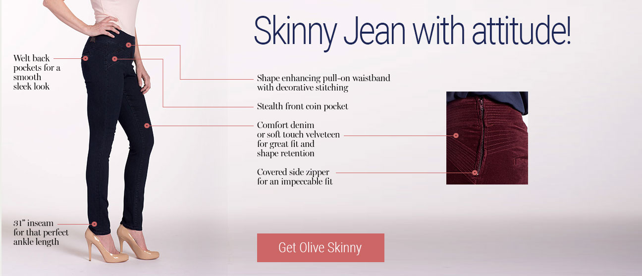 JAG Jeans | Skinny Jean with attitude! | Get Olive Skinny