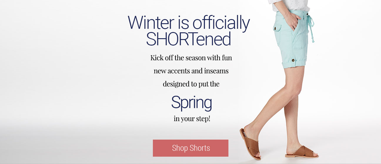 JAG Jeans | Winter is officially SHORTened |  Kick off the season with fun new accents and inseams designed to put Spring in your step! | Shop Shorts